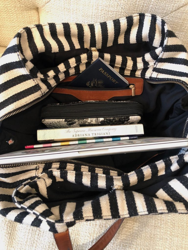 Contents of personal carry on item shown.